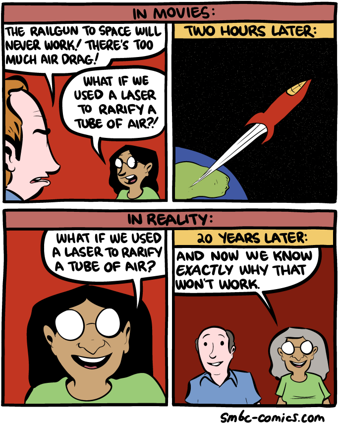 Saturday Morning Breakfast Cereal comic about using a laser to rarify a tube of air