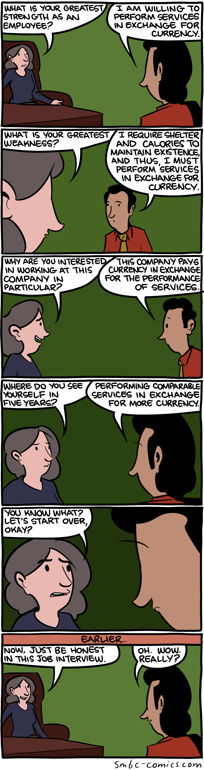 tirinha do Saturday Morning Breakfast Cereal sobre entrevista de emprego